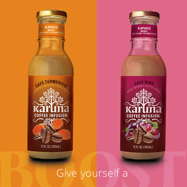 Give yourself a Boost with Karuna Boost Coffee Infusions. Two new plant-based coffee flavors include Cafe Turmerific and Cafe Vino.